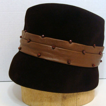 Vintage Ladies Hat Junior B Italy Union Made Chocolate Brown Velvet Hat | Mocha Brown Leather Accent Coppery Bead Detail