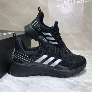 AUGUAU A491 Adidas Low Shock Non-skid Casual Running Shoes Black White