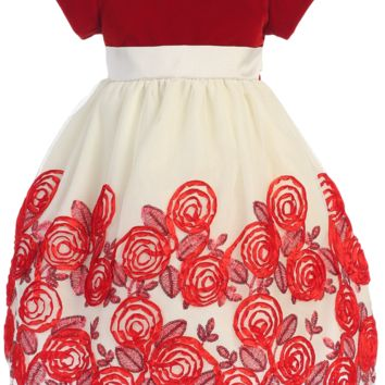 Red Velvet & Ivory Tulle Girls Holiday Dress w. Satin Floral Soutache Skirt 2T-12