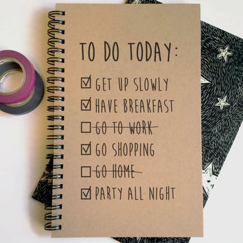Writing journal, spiral notebook, cute diary, small sketchbook, 5x8 journal - To do today, funny to do list, girlfriend gift, shopping party
