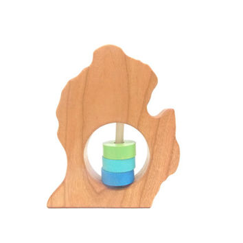 MICHIGAN (Lower Peninsula) State Baby Rattle - Modern Wooden Baby Toy - Organic and Natural