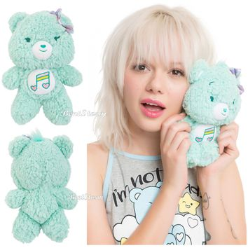 "Licensed cool 8 1/2"" Care Bears HEARTSONG BEAR Plush Furry Fuzzy Bean Bag Toy Music Note 2017"