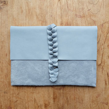"Leather MacBook Air case - Gray 13"" MacBook Air sleeve - 13"" Macbook Air leather cover - MacBook Air Portfolio - Braid closing"