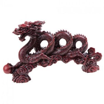 Red Chinese Polystone Flying Dragon Statue