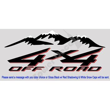4X4 OFFROAD MOUNTAIN SNOW CAP TRUCK BED SIDE DECAL FITS: CHEVY DODGE FORD NISSAN