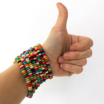 8 layered multicolor wooden beaded bracelet