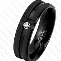 6mm Grooved Center with Clear CZ Black IP Solid Titanium Men's Ring