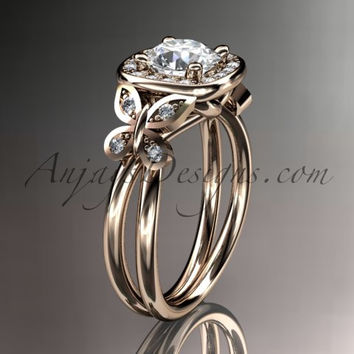 """14kt rose gold diamond unique butterfly engagement ring, wedding ring with a """"Forever One"""" Moissanite center stone ADLR330"""
