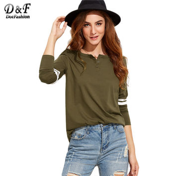 Dotfashion Womens Long Sleeve Tops Women Shirts Korean Fashion Olive Green Button Neck Varsity Striped Sleeve T-shirt