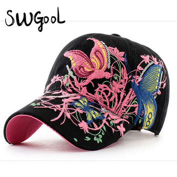 Baseball Caps 2016 New High quality Butterflies and flowers embroidery Summer and fall caps fashion women & women baseball hat