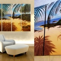 Coconut Tree On The Beach Painting On Canvas Fine Art Size 47 x 35 Inch 009