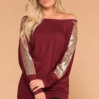 Twinkle Twinkle Burgundy Off The Shoulder Top