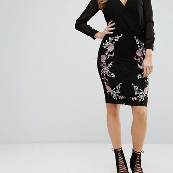 Lipsy Embroidered Lace Pencil Skirt at asos.com
