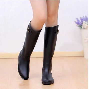 Spring Autumn Women New Fashion Rain High Knee Length Black Rubber Boots Shoes Waterpr