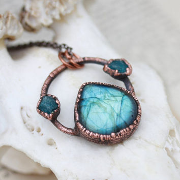 Blue Labradorite Crystal and Raw Apatite Long Necklace/Pendant Electroformed in Copper
