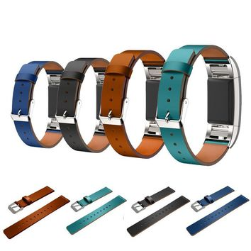 Puscard New Replacement Luxury Genuine Leather Watch Band Fashion Adjustable Accessory Wrist Strap Bracelet For Fitbit Charge 2