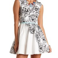 Belted Floral Print Skater Dress by Charlotte Russe - Ivory Combo