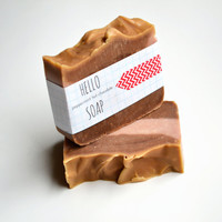 Pink Peppermint Hot Chocolate Soap 5 oz, peppermint essential oil, cocoa powder, organic cocoa butter, handcrafted all natural