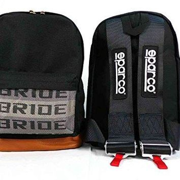 JDM Bride Sparco Racing Backpack Brown Bottom with Black sparco Harness Straps