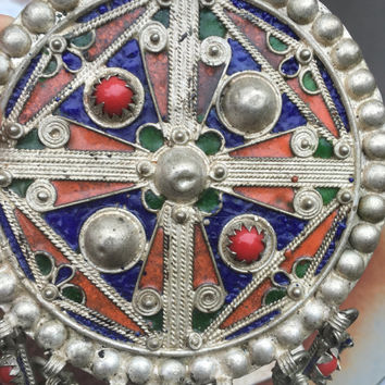 Unique #Turkish #vintage #antique #huge Pendant tribal Indian enamel coral bead unknown metal may be silver with loop