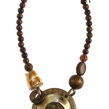 Mixed Shell and Wooden Bead Necklace