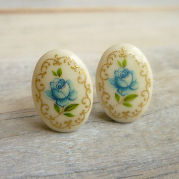 Blue Rose Earrings ... Vintage Floral Studs in Romantic Shades