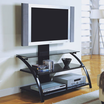Monarch Specialties I 2046 Black Metal / Tempered Glass 42 Inch TV Stand