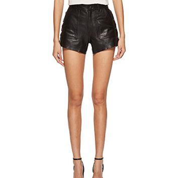 The Kooples Leather Shorts with Button Details