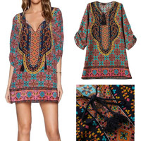 Becca Bohemian Neck Tie Floral Print Boho Style Shift Dress