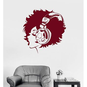 Vinyl Wall Decal Pretty Teen Girl Headphones Music Beautiful Stickers Unique Gift (ig3014)