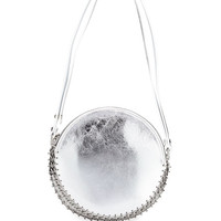 Paco Rabanne 14#02 Crackled Metallic Leather Circle Bag