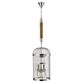Birdcage 3-Light Chandelier, Silver, Ceiling Chandeliers