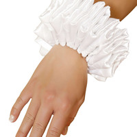 Ruffled Wrist Cuffs - White