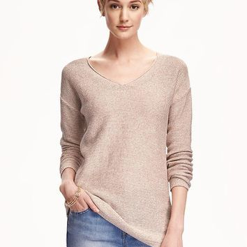 Marled V-Neck Tunic Pullover for Women | Old Navy