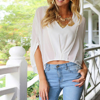 Deep V Neck White Loose Blouse Bat Sleeve
