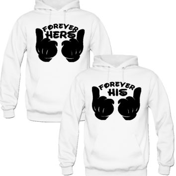 FOREVER HER FOREVER HIS  COUPLE LOVE HOODIES
