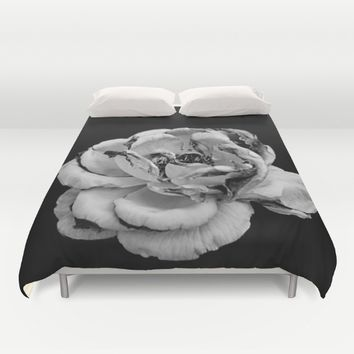 Rose in black and white  Duvet Cover by VanessaGF