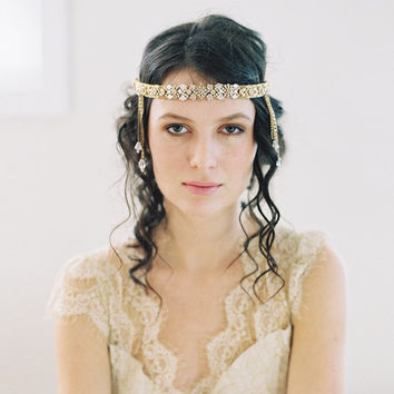 1920s wedding headband, chain forehead band - Parisian Headaband no. 2049