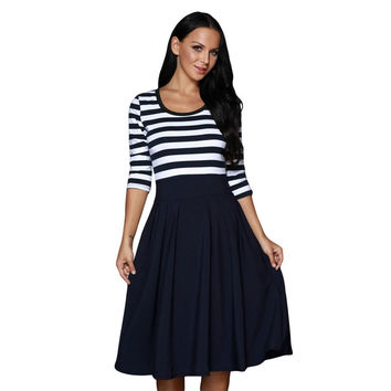 2017 A-line Three Quarter Dress Navy White Stripe Scoop Neck Casual Swing Dress Spring Polka Dots Line Skater Dresses Ad74416