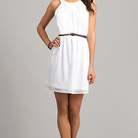 Short White Belted Dress by As U Wish