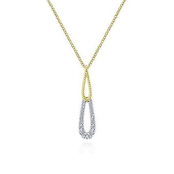 14K Yellow and White Gold Double Teardrop Diamond Necklace