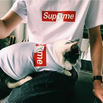 Custom supreme pet tide brand, spring and summer dog, baby pack, thin cat, T-shirt, bucket, Teddy puppy, puppy clothes