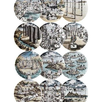 Fornasetti Set Of 12 Scenic Playing Cards Printed Plates