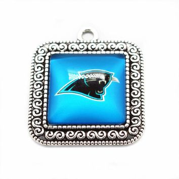 New arrival Sports football Carolina Panthers Team Hanging Dangle Charms Glass Pendant Fit Necklace Bracelet DIY Jewelry
