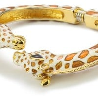 Kenneth Jay Lane White and Tan Enamel Giraffe Bracelet