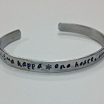 Sigma Kappa motto bracelet - One Heart, One Way, handstamped on a non tarnish aluminum cuff bracelet