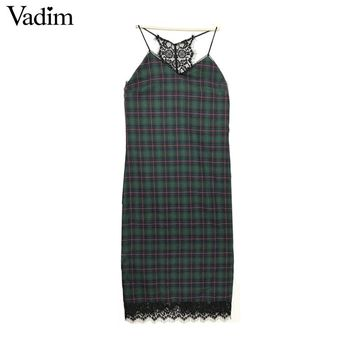 V neck lace patchwork plaid dresses spaghetti strap retro sexy sleeveless ladies autumn dresses