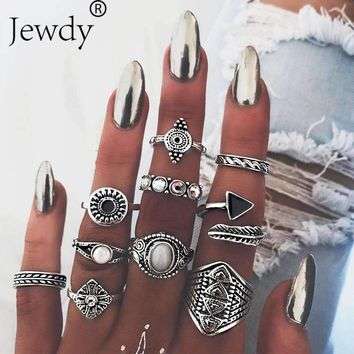 10PCS/Lot Opal Leaf Stone Midi Ring Sets New 2018 Fashion Vintage Crystal Crystal Knuckle Rings for Women Anillos Mujer Jewelry