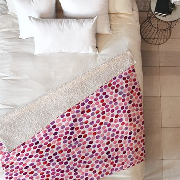 Garima Dhawan Watercolor Dots Berry Fleece Throw Blanket