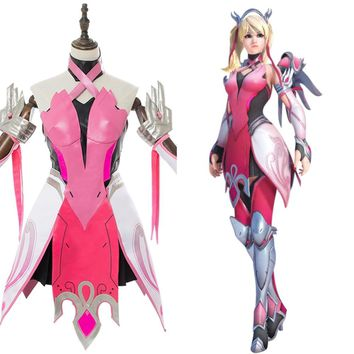 OW Cosplay Costume Mercy Angela Ziegler Pink Mercy Skin Cosplay Costume Custom Made